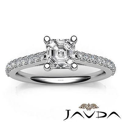 Asscher Diamond Double Prong Set Engagement Ring GIA G VS2 18k White Gold 0.8Ct 3