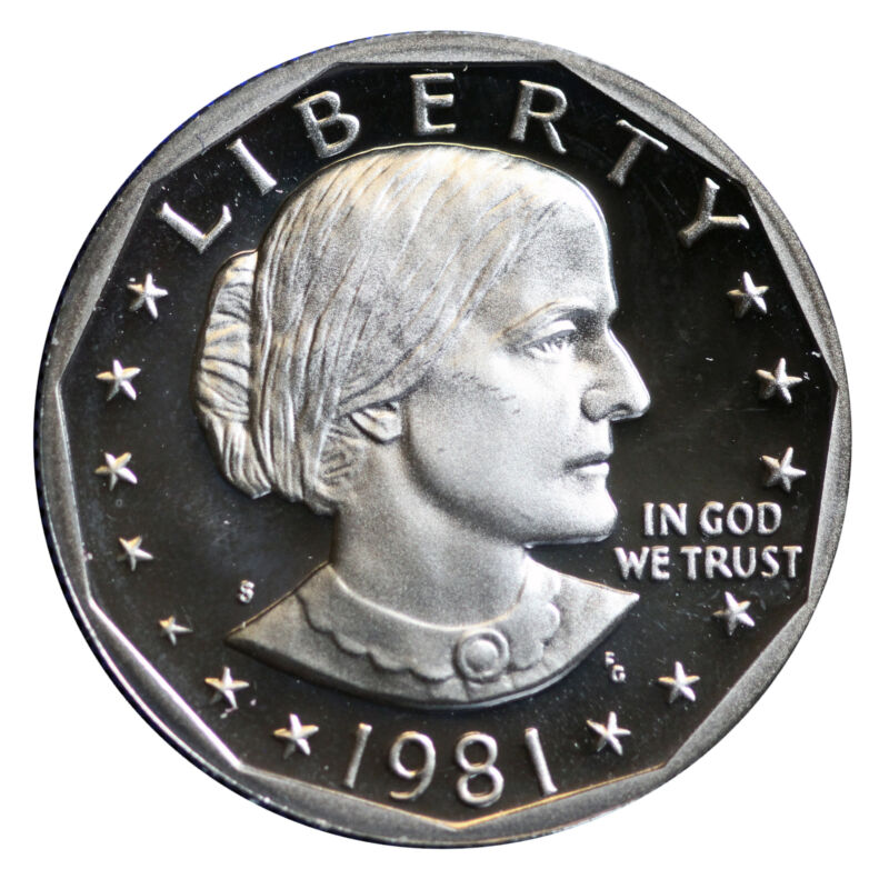 1981 S Susan B Anthony Dollar Choice Cameo Proof type 2 ( Flat S) CN-Clad