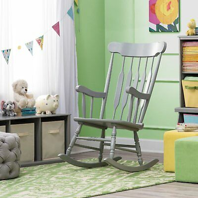 - Traditional Classic Spindle Styled Gray Wood Rocking Chair Nursery Rocker