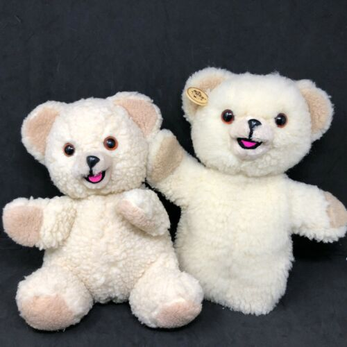Russ Snuggle Bear Puppet Plush Set of 2 Cream Teddy Seated VTG Advertising