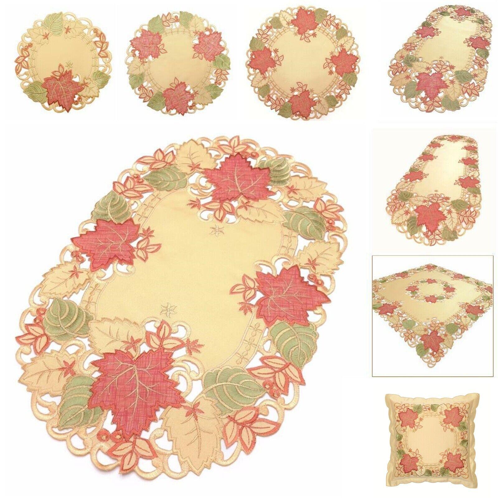 STICKEREI Tischdecke BLÄTTER Tischdeckchen HERBST Deckchen Herbstblätter 40cm