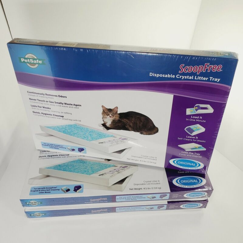3 Pack PetSafe ScoopFree Litter Refill Tray Disposable Blue Crystal Kitty Cat