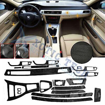 5D Interior Glossy Carbon Fiber Wrap Trim Decal For BMW 3 Series E90 -