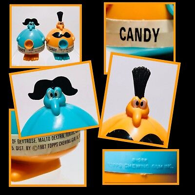 2 Vintage BLUE 1987 Topps MARRIED MR & MRS PLUGGO Candy Containers SO CUTE!