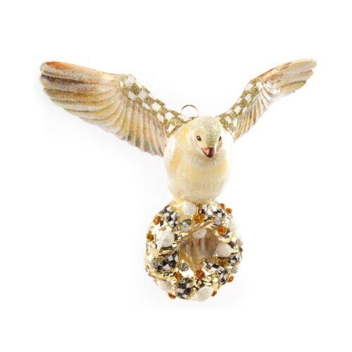 MacKenzie Childs Glittering GOLDEN HOUR DOVE Glass Ornament & Gift Box Last One!