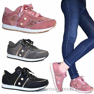 Scarpe donna Sneakers Passeggio Ginnastica Stringate Lacci Raso B01