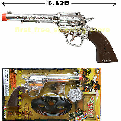 TOY COWBOY GUN PISTOL REVOLVER WILD WEST SUPER PLAY SET BADGE MASK