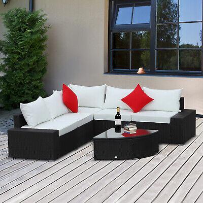 6pc Patio Furniture Set All Weather Wicker Rattan Coffee Table Sofa Chair