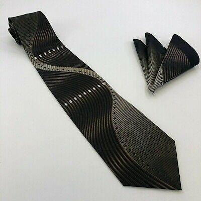 Brown, Black and White Stripes & Waves Necktie w/ Handkerchief - Tie & Hanky (White Stripes Necktie Handkerchief)