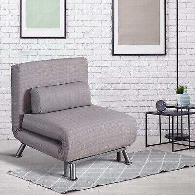 HOMCOM Folding 5 Position Steel Convertible Sleeper Bed Sofa Chair Lounge- Grey