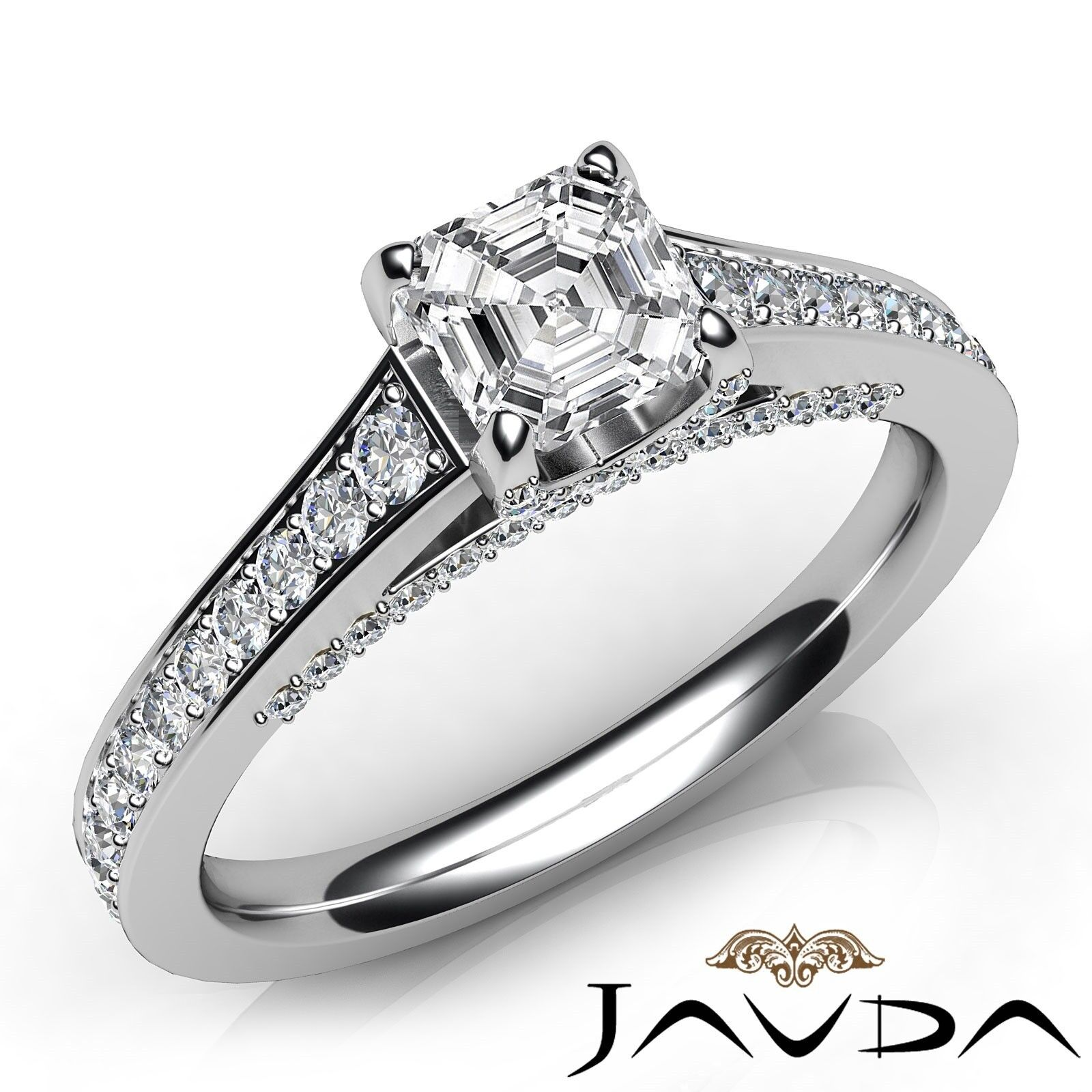 1.82ctw Brilliant Cut Asscher Diamond Engagement Ring GIA F-VS1 White Gold Rings