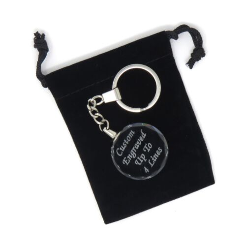 Custom Engraved Round Crystal Key Chain - Up to 4 Lines - Circle Key Ring - USA