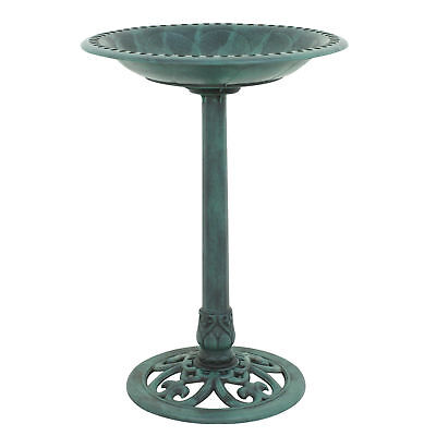 "28"" Luxury Outdoor Bird Bath Garden Decorative Assembled  Verdigris Bird Feeder"