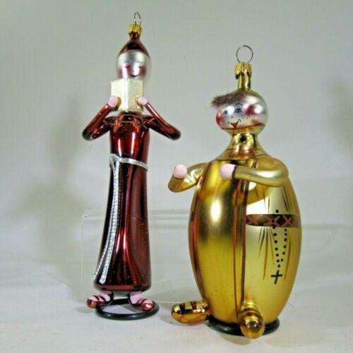 PAIR Christopher RADKO CHUBBS & SLIM Italian X-mas Ornaments #94-255-0 monks