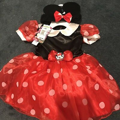 Toddler Girl Minnie Mouse Halloween Costume (NWT Disney Minnie Mouse Dress Halloween Costume & Headband ~ Baby Toddler Girl)