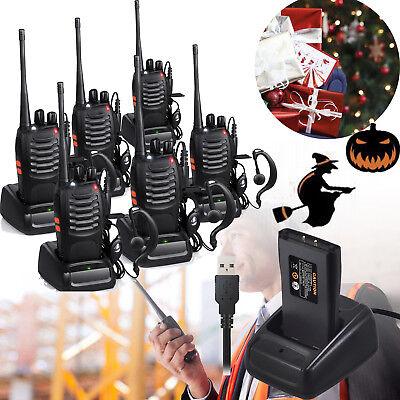 6 PROSTER Walkie Talkie 2 Way Radio Handheld Police 16CH GMRS Long Range Speaker