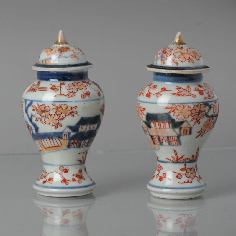 Pair Antique Ca 1680-1720 Japanese Imari Porcelain Vases Arita Edo Japan