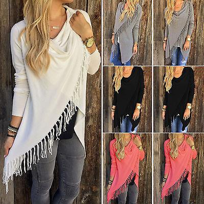 (Women Cowl Neck Casual Long Sleeve Jumper Sweater Cardigan Fringe Shawl Coats)