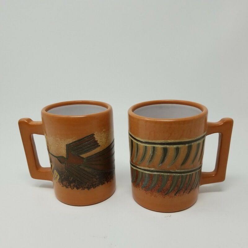 Set of 2 Seminario Urubamba Peru Pottery Earthenware Clay Mugs Mug Cup