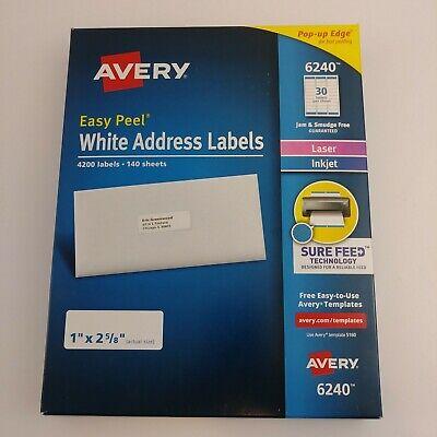 Avery 6240 51608160 Easy Peel White Address Labels 4200 Labels Laserinkjet