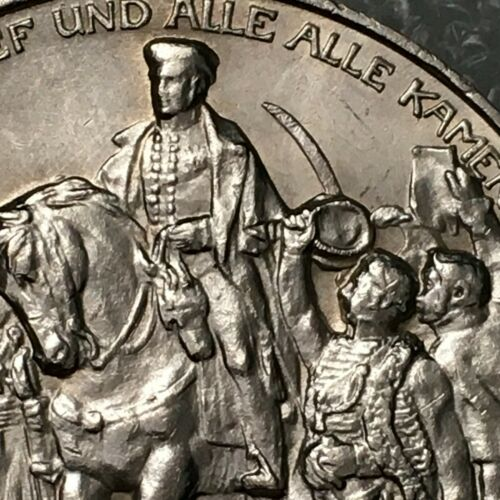 1913 GERMANY (PRUSSIA)  Silver 3 MARK Coin, Declaration of war against NAPOLEON.