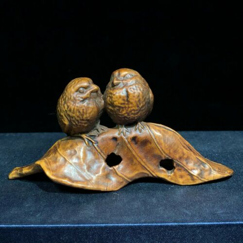 Collectible Old Vintage Boxwood Carved Leaf & Pair Bird Japanese Netsuke Statue