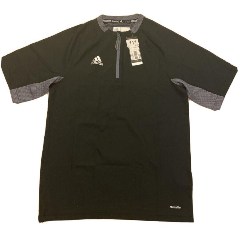 Adidas Mens Climalite Fielders Choice SS 1/4 Zip Batting Jacket Black Gray Small