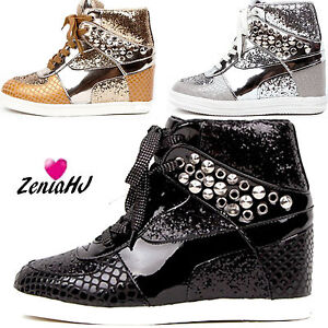 women-wedge-hidden-heels-trainers-studded-hi-top-ankle-sneakers-sequin-boots