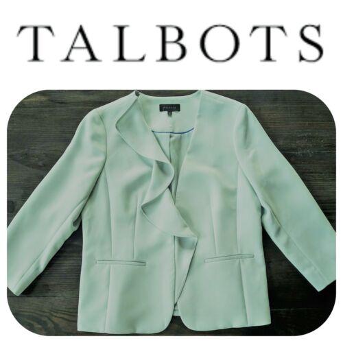 🆕TALBOTS Women Blazer Jacket Mint Pastel Pale Green SZ 14 Ruffle Business Lined