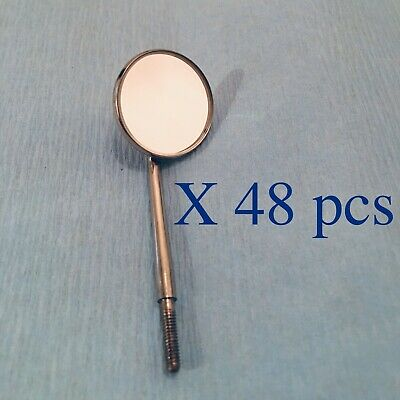 48 Pieces Dental Stainless Steel Mouth Mirrors 5 Cone Socket Autoclaveable