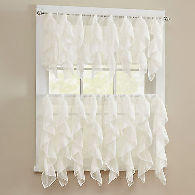 Sheer Voile Vertical Ruffle Window Kitchen Curtain Tiers or Valance Ivory Curtains & Drapes