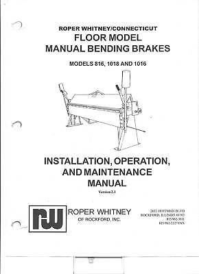 Pexto Roper Whitney 299 Owners Manual