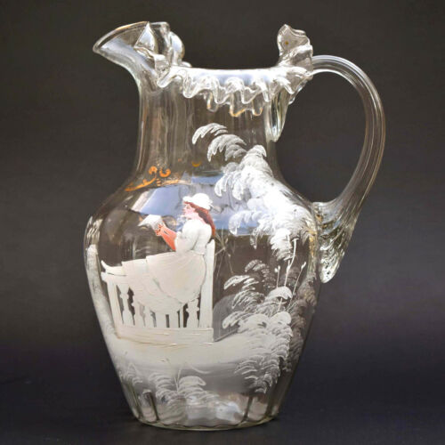 Spectacular Fenton Antique Mary Gregory Ruffled , Fluted Hand Blown Pitcher