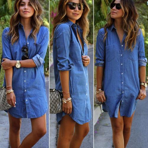Damen Jeanskleid Hemdkleid Tunika Jeans Bluse Strand Longshirt Denim Sommerkleid
