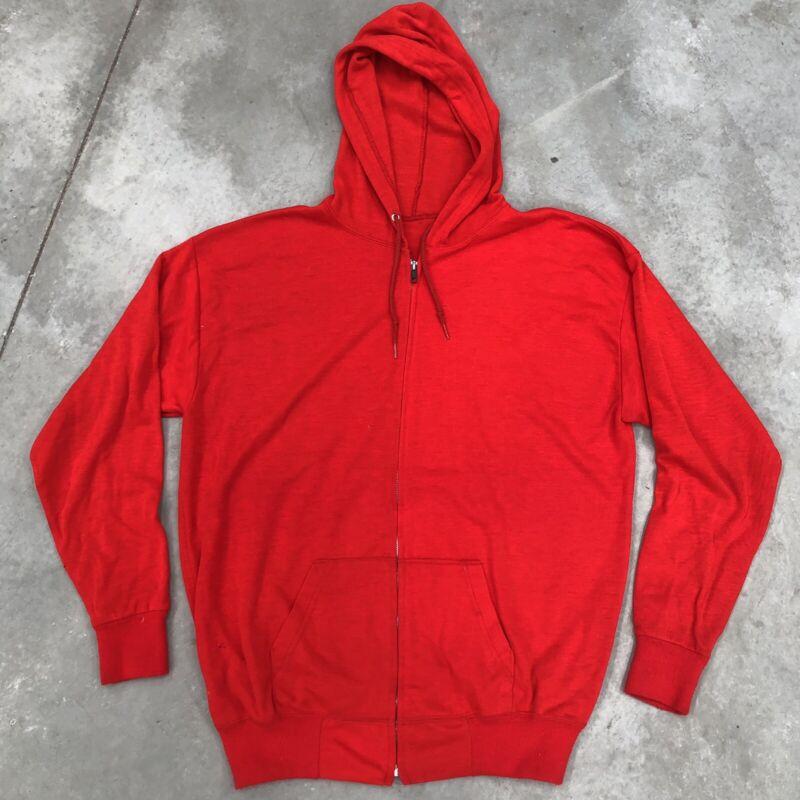 Vintage 60s Sweatshirt Red Zip Up Waffle 1960s Hoodie XL Workwear Hooded