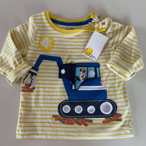 """Mini Boden Baby Boys """"DIGGER"""" Lift-Up Flap Shirt. 6-12 Months, So Comfy and Soft"""