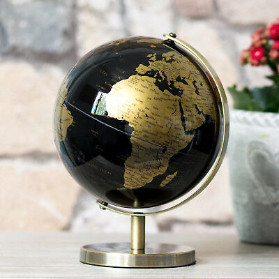 Black & Gold World Globe Vintage Rotating Atlas Office Desk Ornament Home Decor