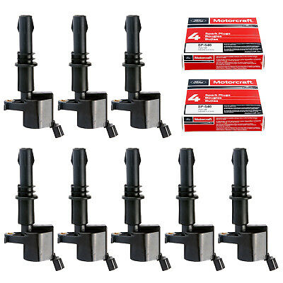 8 Ignition Coils DG511 & 8 Motorcraft Spark Plugs SP515/SP546 PZH14F For Ford