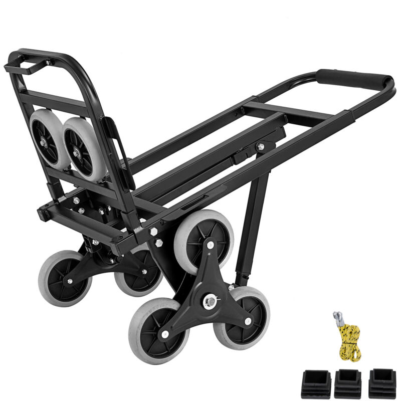 New Portable Stair Climbing Folding Cart Climb Hand Truck Dolly W/ Backup Wheels