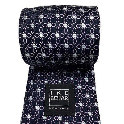 "IKE BEHAR Men's Tie Silk Hand Tailored Dark Navy/Purple Geometric Necktie 60.5"""