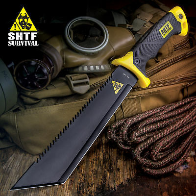 """16"""" TACTICAL HUNTING SURVIVAL RAMBO FIXED BLADE MACHETE KNIFE Camping Axe Sword"""