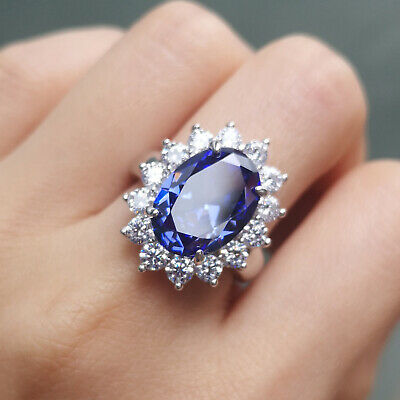 Women Gemstone Cocktail Ring Blue Tanzanite White Topaz 925 Sterling Silver Sz 7