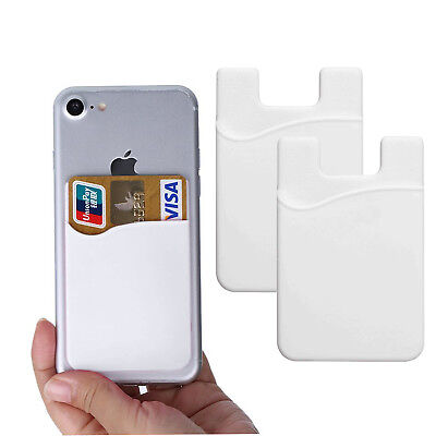 2X Universal Silicone Credit Card ID Holder Cell Phone Case Wallet Sticker (Cell Phone White Silicone Case)