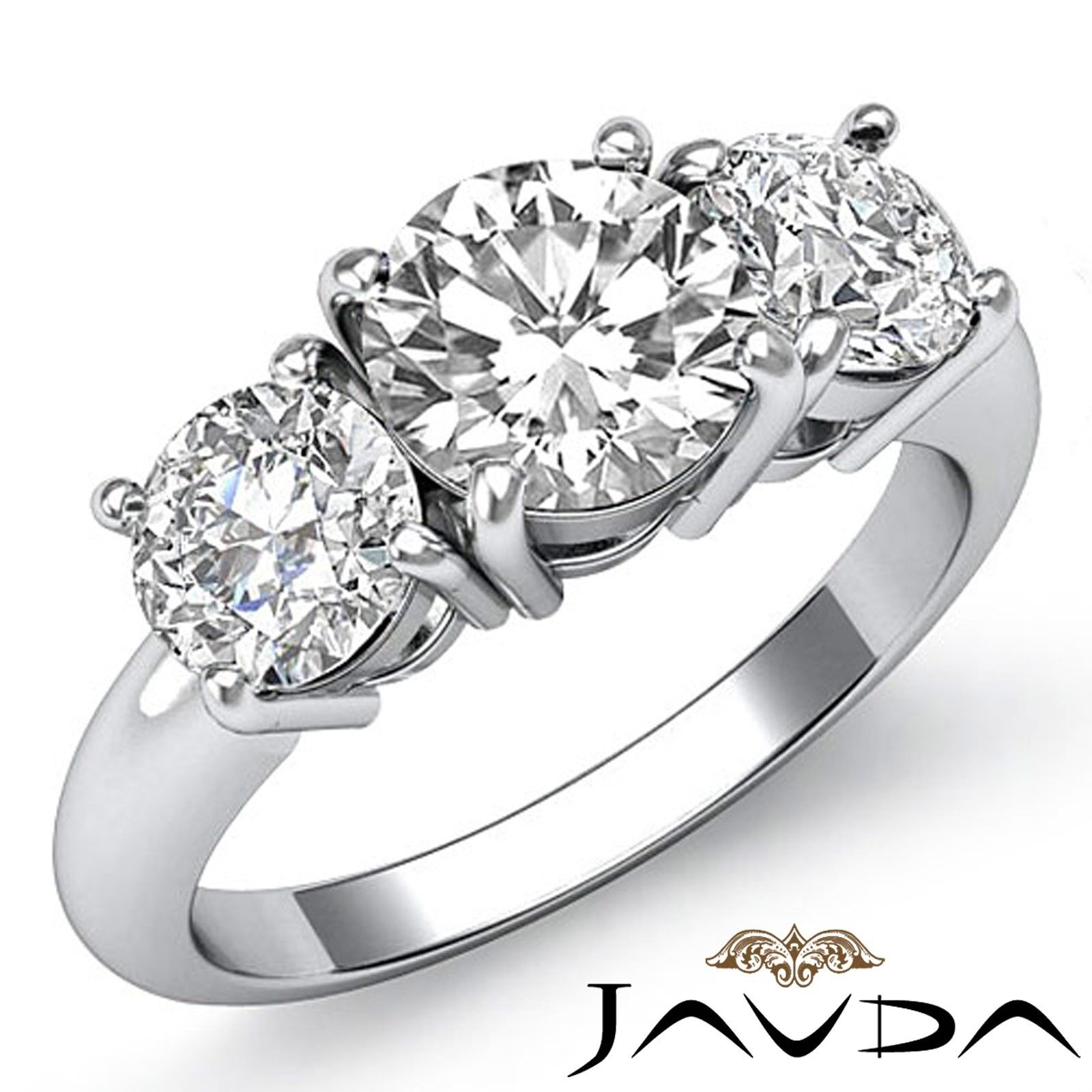 3.25ctw Classic Basket 3 Stone Round Diamond Engagement Ring GIA F-VVS2 W Gold