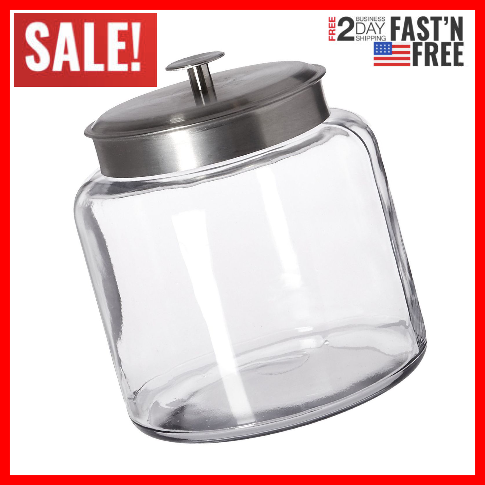 Montana Jars Glass With Fresh Sealed Lid, Brushed Metal, 1.5