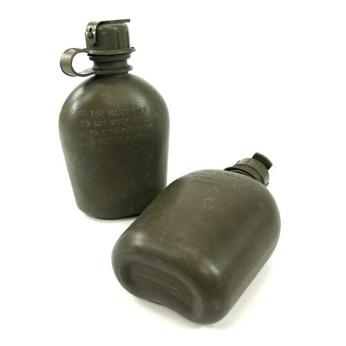 Military 1 Quart Canteen Water Bottle, NBC Compatible Cap, Heavy Duty 2 Pack