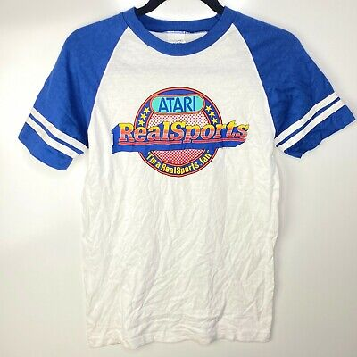 Atari T-Shirt Men's S White Blue Realsports 1982 Not for Resale Vtg 80s Promo