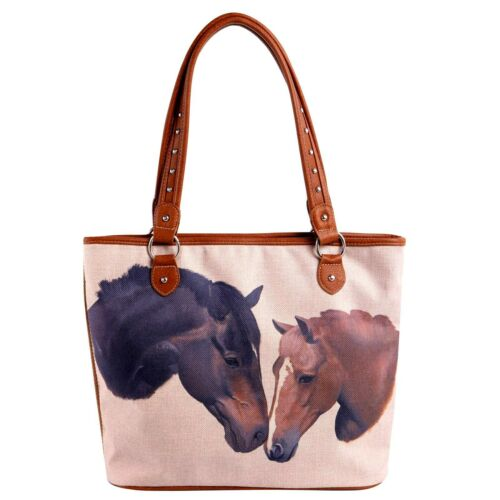MONTANA WEST Horse Collection Art Canvas Tote Handbag 982-8112 Camel Brown Trim~