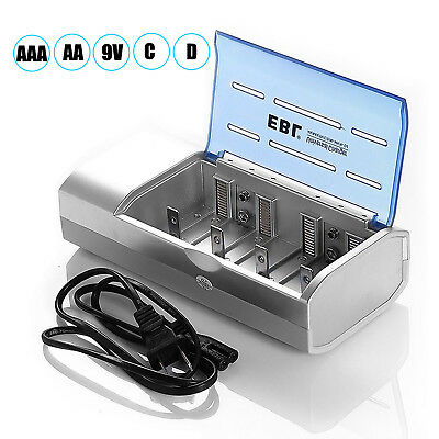 EBL Universal Charger For 9-Volt AA AAA C D NiMH NiCD Multi Rechargeable Battery