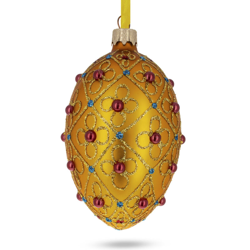 Jeweled Crosses on Gold Glass Egg Ornament